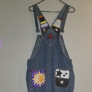 Hand painted dark wash full length overalls